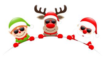 Elf, Rudolph & Santa Sunglasses Round Banner