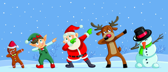 Dabbing Christmas Cartoon Characters Funny Banner