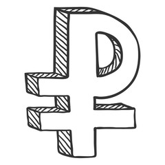 Vector Sketch Currency Symbol. Russian Ruble Sign.