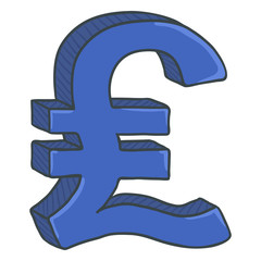 Vector Cartoon Blue Currency Sign. Britain Pound Symbol