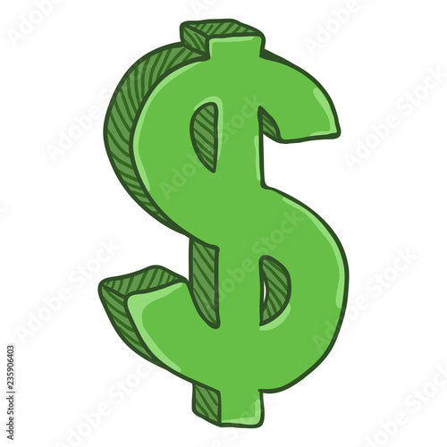 Vector Cartoon Green Currency Sign  US Dollar Sign