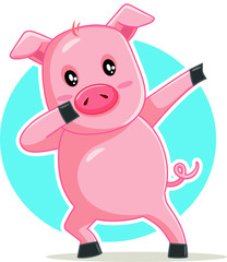 Funny Dabbing Pig Vector Cartoon