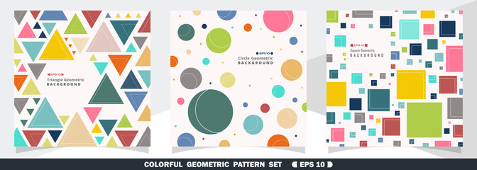 Abstract of colorful geometric pattern bundle set background.