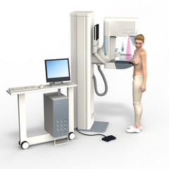Mammography, breast cancer screening,  3D, medically correct, illustration