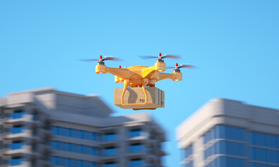 Drone carrying a parcell