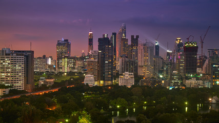 twilight sunset skyline with cityscape in metropolis buildings