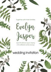 Wedding invite invitation card vector floral greenery design. Fern, eucalyptus, boxwood, botanical green, decorative square