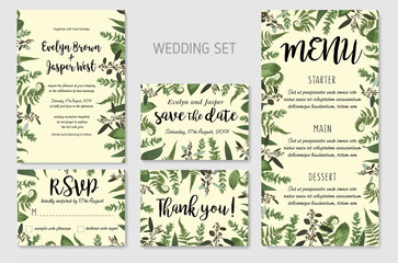 Wedding Invitation, floral invite, thank you, rsvp card Design: green fern leaves greenery, eucalyptus and boxwood branches, forest foliage decorative frame print. Vector elegant watercolor rustic set