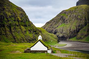 Saksun village with church, Faroe Islands, Atlantic ocean. Europe
