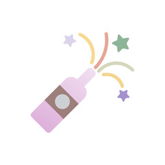 Christmas celebration champagne line icon flat design