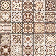 A collection of ceramic tiles in brown colors.