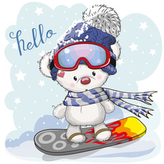 Cute cartoon Bear on a snowboard