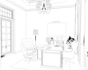 director's office, head office, contour visualization, 3D illustration, sketch, outline