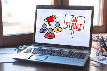 On strike concept on a laptop screen