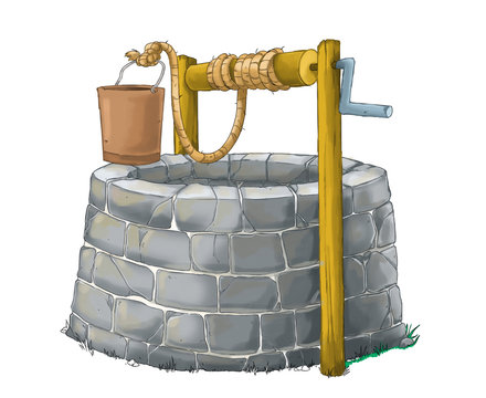 cartoon scene with traditional well on white background - illustration for children