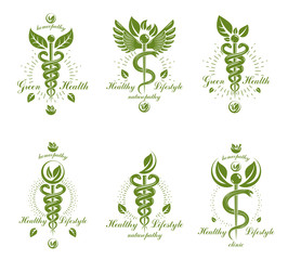 Collection of Caduceus logotypes composed with poisonous snakes and bird wings, healthcare conceptual vector illustrations. Alternative medicine theme.