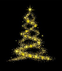 Christmas tree on transparent background with gold bright stars. Symbol of Happy New Year, Merry Christmas holiday celebration. Golden light decoration.