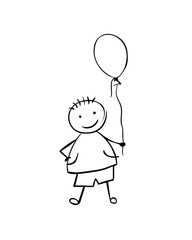 Linear vector boy with balloon. Black on white