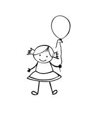 Girl in the children's style. Black on white