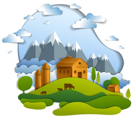 Scenic landscape of farm buildings among meadows trees, mountain range and clouds in the sky, vector illustration of summer time relaxing nature in paper cut style. Countryside beautiful ranch.