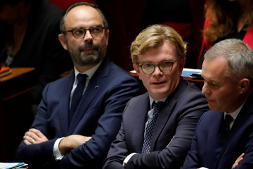 French Prime Minister Philippe, Fesneau, French Minister for Relations with Parliament, de Rugy, and French Minister for the Ecological and Inclusive Transition, attend the questions to the government session at the National Assembly