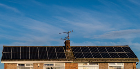Roof top voltaic solar panels green energy