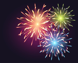 Fireworks explosioms greeting card background Happy New Year vector