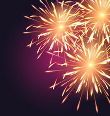 Fireworks explosioms greeting card vertical background Happy New Year vector