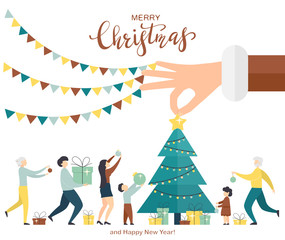 Santas Hand with Christmas Tree and Family