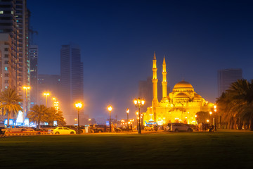 Beautiful view to illuminated Al Noor Mosque in Sharjah emirate at night, United Arab Emirates