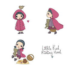 Little Red Riding Hood fairy tale. Little cute cartoon girl . Hand drawing isolated objects on white background.