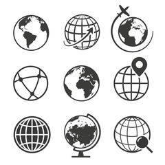 Globe and earth geography graphic icon set