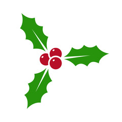 Holly berry - vector icon. Holly berry leaves. Christmas symbol isolated
