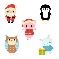 Set of christmas characters.