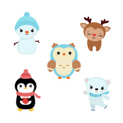 Set of christmas characters.
