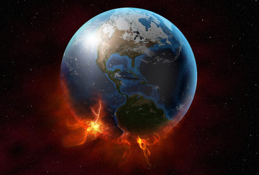 planet earth glowing in the space, 3d illustration