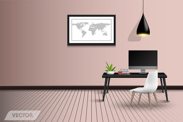Working table desktop interior design and decorative, Vector, Illustration