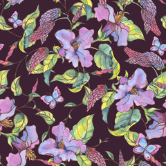 Watercolor seamless pattern with purple wildflowers, curls and butterflies