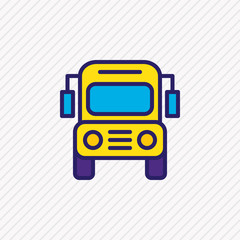 Vector illustration of school bus icon colored line. Beautiful studies element also can be used as autobus icon element.
