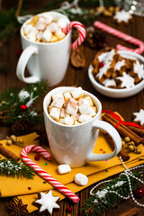 Christmas and New Year Card Background with Hot Cocoa with Marshmallows. Selective focus.