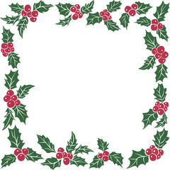 Square frame of Christmas holly leaves.Seamless pattern of green leaves and red berries.