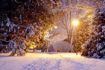 Scenic winter night nature background. Beautiful winter evening landscape with footprints on a covered by fresh snow alley and shining lanterns in a park during snowfall. Midwest USA.