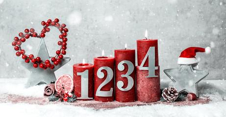 Weihnachten Advent Kerzen brennen vintage