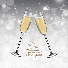 Vector Happy New Year with toasting glasses of champagne on white snow background in realistic style. Greeting card or party invitation with golden Christmas tree illustration.
