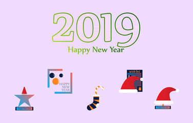 Happy New Year 2019 typographic emblems set. Vector logo, text design. Usable for banners, greeting cards, gifts etc.