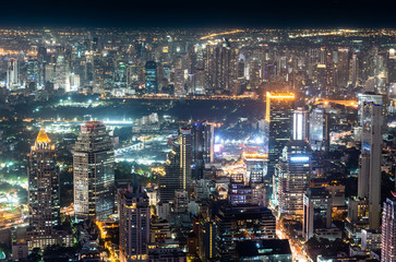 Panorama Bangkok City Skyline at Night.