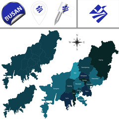 Map of Busan with Districts, South Korea