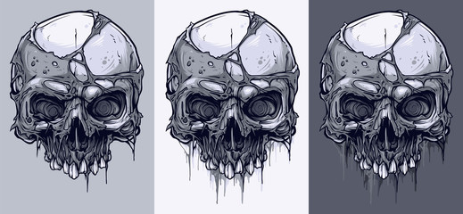 Detailed graphic realistic cool black and white human skulls without lower jaw and with pieces of dead skin. On gray background. Vector icon set.