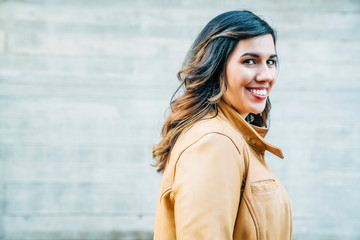 Side profile of smiling woman