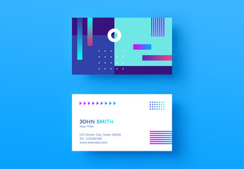 Business Card Layout with Abstract Gradients